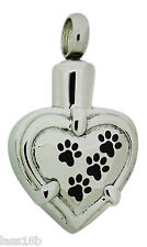 Paw in Heart Cremation Urn Pendant Necklace Keepsake Jewelry Ash Holder +Funnel