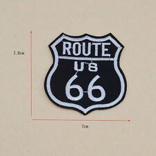 Embroidery US Route 66 Iron on biker patch sew clothes Fabric Applique badge Bag