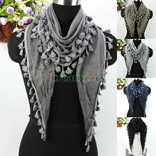 Antique Classic Women Knit With Tassel Fringe Triangle Scarf Shawl Wrap New