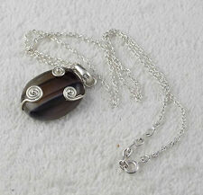 Natural Black Banded Agate Oval Cabochon Gemstone 925 Sterling Silver Pendant