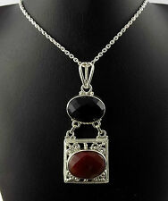 Natural Red & Black Onyx Oval 13x18-14x19mm Gemstone 925 Sterling Silver Pendant