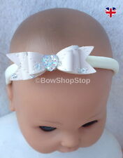 Faux Leather Sequin & Crystal Heart Hair Bow on Ivory Soft Baby Headband