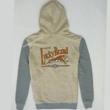 LUCKY BRAND NEW MENS FULL ZIP LOGO HOODIE/JACKET BEIGE/GRAY NWT RETAIL $79.50