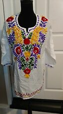 Mexican White Embroidery V neck line Peasant Tunic Blouse 3/4 sleeve size L & XL