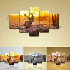 Home Decor Wall Art Pictures Canvas Print Landscape Animal Deer Morning Sunrise