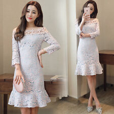 Korean Sexy Summer Fashion Women Long Section Boat Collar Flounced Lace Dress