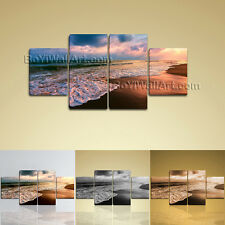 Large Seascape Picture Sea Wave Painting Dining Room Four Panels Canvas Print