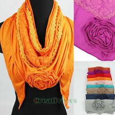 Fashion Women's 3D Flower Floral 2-Layer Lace Trim Triangle Scarf Shawl Wrap New