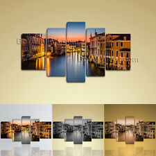 Framed Landscape Picture Italy Venice Canal Grande Canvas Print Wall Art Decor