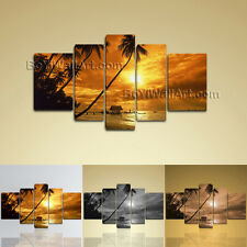 Large Canvas Print Sunset Glow Landscape Palm Tree Beach Stretched Home Decor