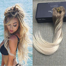 Blonde Balayage Color 7 pcs 70g Ombre Clip Hair Extensions Remy Human Hair Hot