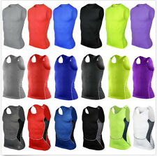 Mens Compression Base Layer Sports Under Wear Sleeveless Vest Tank Top Shirt Y23