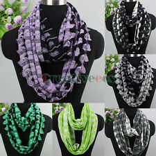 Women Fashion 2Color Wool Blend Knitted Crochet Wave Infinity Loop Cowl Scarf