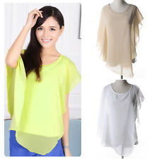 Fashion Women Ladies Summer Casual Chiffon T-shirt Top Irregular Blouse Shirt