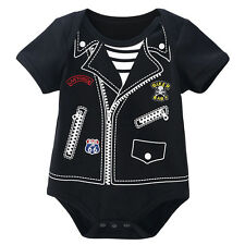 Newborn Baby Boy Biker Costume Bodysuit Cute Infant