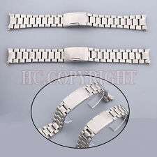New Silver Stainless Steel Solid Links Watch Band Bracelet Curved End 20/22mm