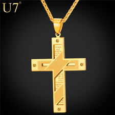 U7 Brand Gold Plated Cross Men Necklace Stainless Steel Jewelry Wholesale Holy