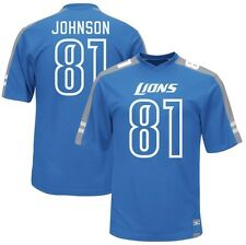 Detroit Lions Calvin Johnson Majestic Mens Hashmark Jersey Blue Big & Tall Sizes