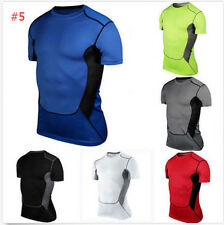 Mens Compression Baselayer Thermal Under Skin Body Armour T-Shirt Tight Top #F94