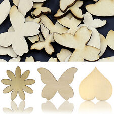 50 Pcs Mixed Butterfly Flower Heart Wood Buttons DIY Scrapbooking Sewing Sturdy