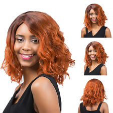 Women Mixed Color Medium Long Curly Wigs Cosplay Party Hair Full Wig New Trendy