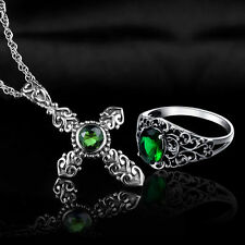 Emerald Topaz 925 Sterling Silver Ring and Cross Pendant birthstone Jewelry Sets