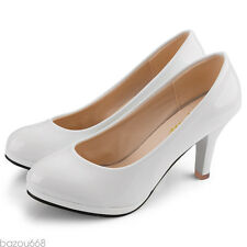 Women Patent Leather Round Toe Stiletto High Heels Platform Pumps Working Shoes