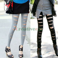 Fashion Women Sexy Broken Hole Stripe Thin Stretchy Back Tight Leggings Pants
