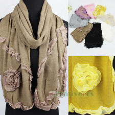 Fashion Women Girl's 3D Flower Chiffon Trim Soft Long Wrap Casual Scarf Shawl