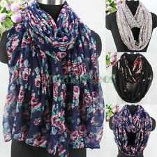 Women Vintage Floral Flower Print Long Shawl/Infinity Scarf Soft Ladies Scarves