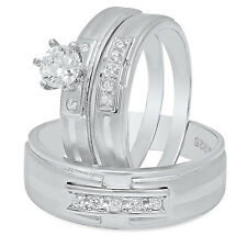Couples Sterling Silver Suspended CZ Row 3-Piece Wedding Ring Set