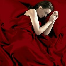 Comfy Cover Red Black Satin Silk Fitted+Pillowcase+Flat Twin Queen Sheets Set