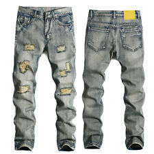 Fashion Mens Straight Slim Fit Jeans Pants Blue Distressed Ripped Skinny Trouser