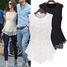 New Womens Sleeveless Embroidery Lace Flared Peplum Crochet Top Tee Vest Blouse