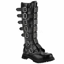 Demonia REAPER-30 30 Eyelet Goth Punk Knee Boot With Metal Plates Black Leather