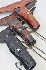 "NEW 22 CAL Tooled Holster Gun Belt Drop Loop LEATHER Western RIG SASS 34""-52"""
