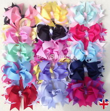 Boutique Stacked Two Tone Ribbon Hair Bow Alligator Clip Girl Cheerleader