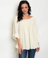 Ivory Blouse Size S, M, L Gathered Fabric Quarter Batwing Sleeve Occasion