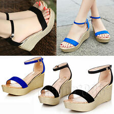 Womens Espadrilles Style Peep Toe Wedge Heels Platform Ankle Strap Sandals Shoes