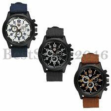 Fashion Mens Date Dial Calendar Nylon Strap Quartz Analog Sports Wirst Watch New