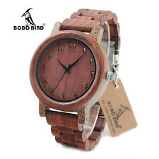 BOBO BIRD N13 Wooden Watches Digital Dial Watchs with Red Wood Band