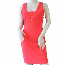 River Island Cut Out Side Panel Fitted Bodycon Midi Dress Fluorescent Pink