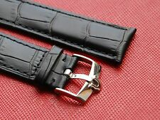 GENUINE BLACK LEATHER STRAP 18mm/20mm WITH OMEGA STAINLESS STEEL BUCKLE
