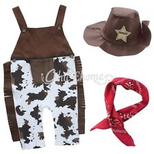 3pcs Baby Boys Fancy Costume Cowboy Overalls Hat Pants Outfit Clothing Set 00~1
