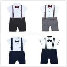 Baby Boy Wedding Christening Formal Smart Short Summer Suit Outfit Tuxedo 6-24m