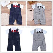 Toddler Baby Boys Wedding Suit Formal Tuxedo Romper Overalls Outfit Clothes Set