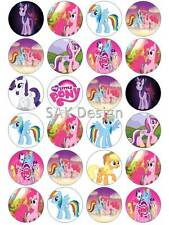 24 X little pony Cup Cake Toppers on Edible Wafer/Rice Paper or Icing Sheet