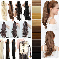 100% New CLAW CLIP in Hair Extension Curly Straight Wavy Ponytail Hair Piece A1