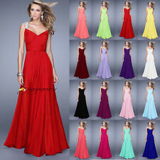 Chiffon Wedding Ball Gowns Formal Evening Party Bridesmaid Dress Stock Size 6-22