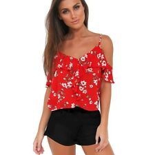 Women Boho Backless Ruffle Loose Casual Floral T Shirts Top Tees Blouse Tops New